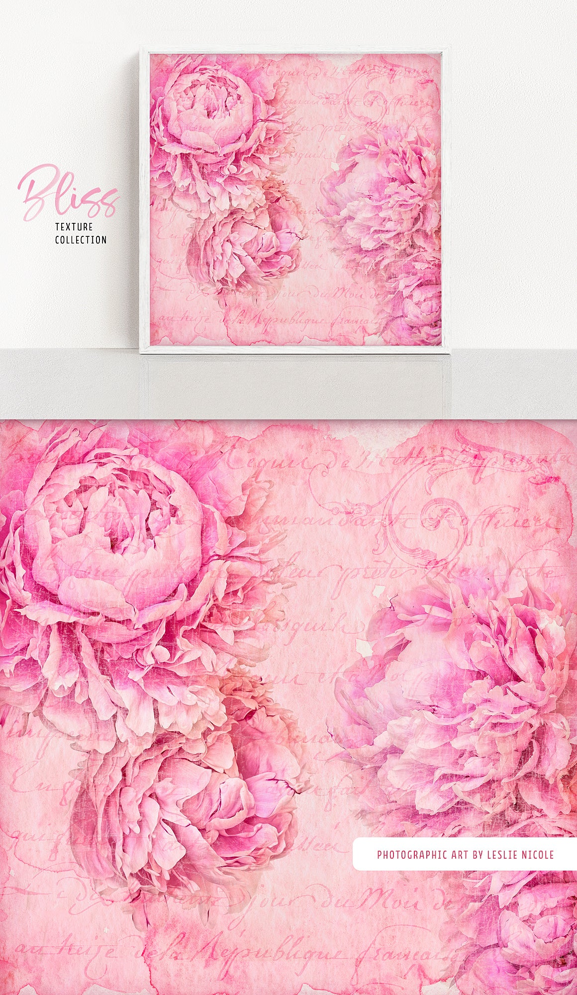 Watercolor texture with peonies using the Complete Inspirational Textures and Elements Collection.