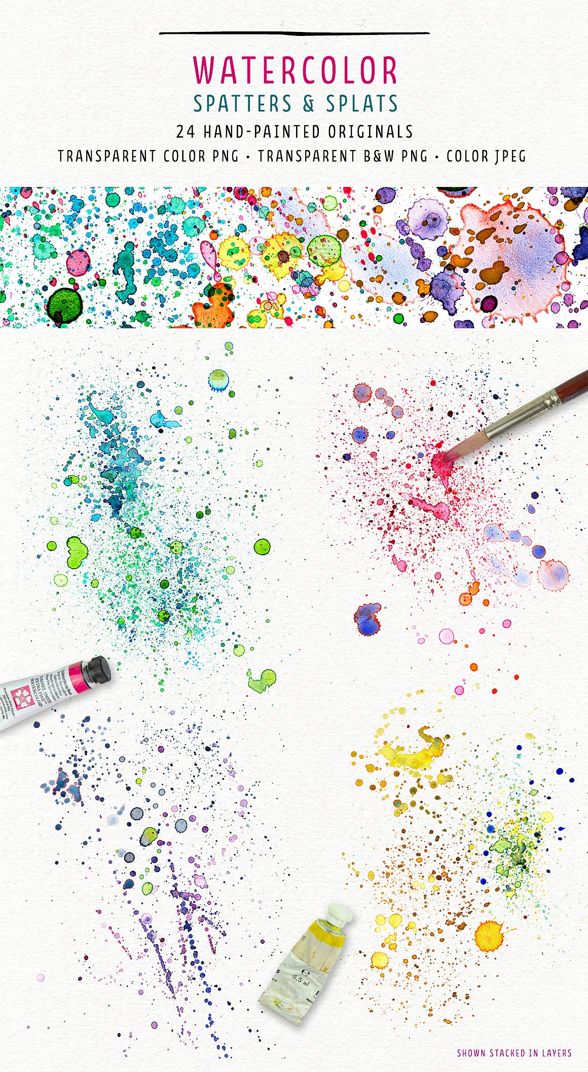 Watercolor spatter overlays from the Complete Inspirational Textures and Elements Collection.