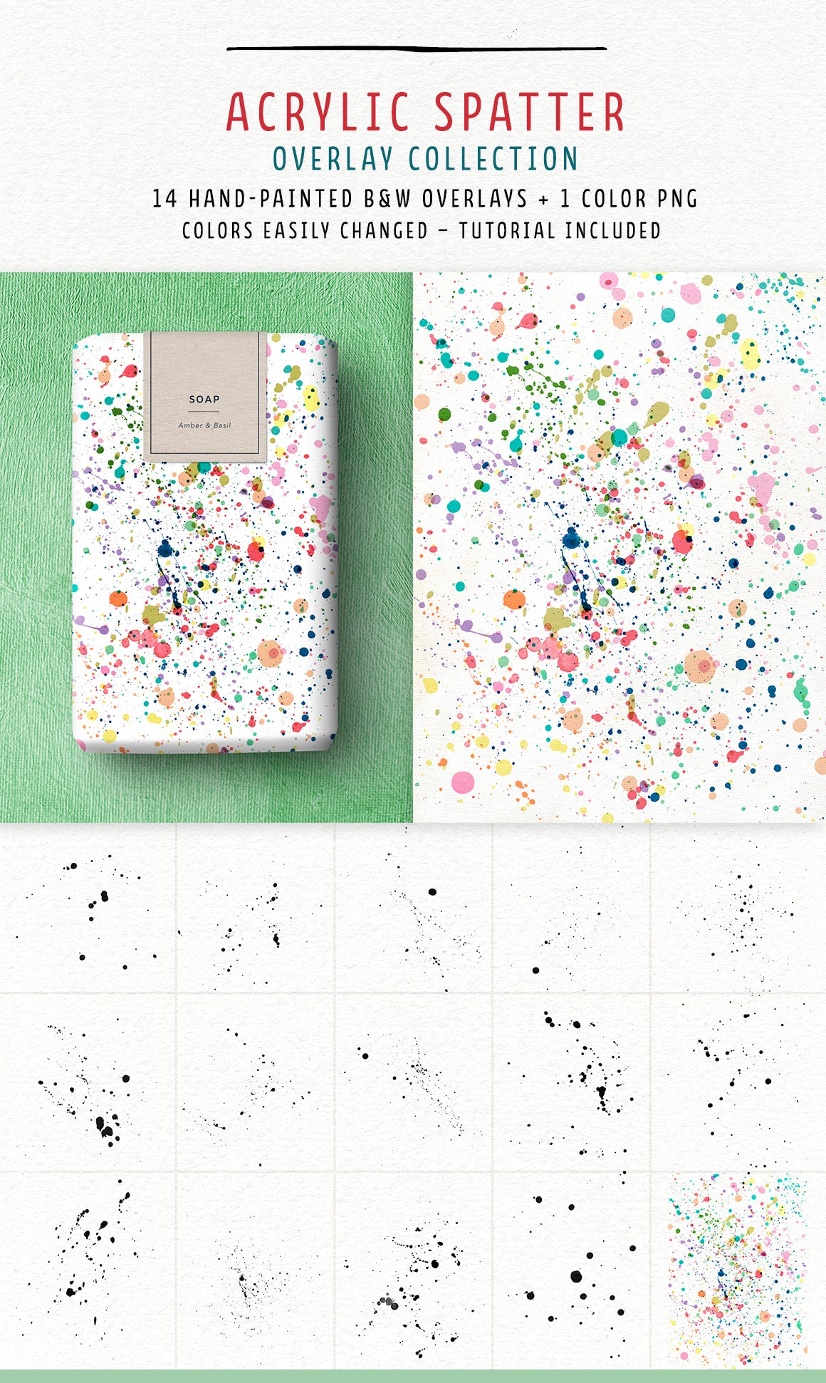 Acrylic spatter overlays from the Complete Inspirational Textures and Elements Collection.