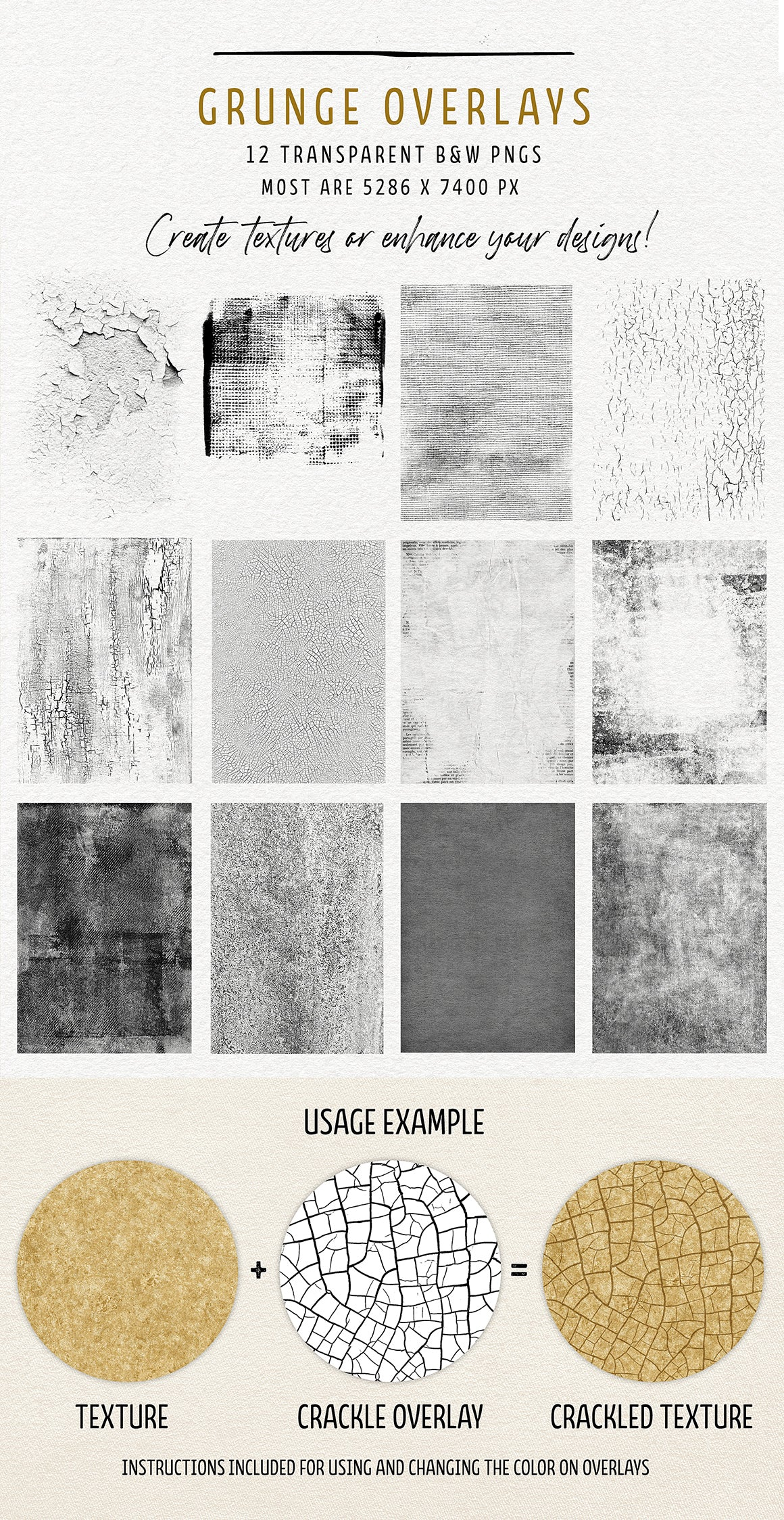 Grunge overlays, part of the Complete Inspirational Textures and Elements Collection.