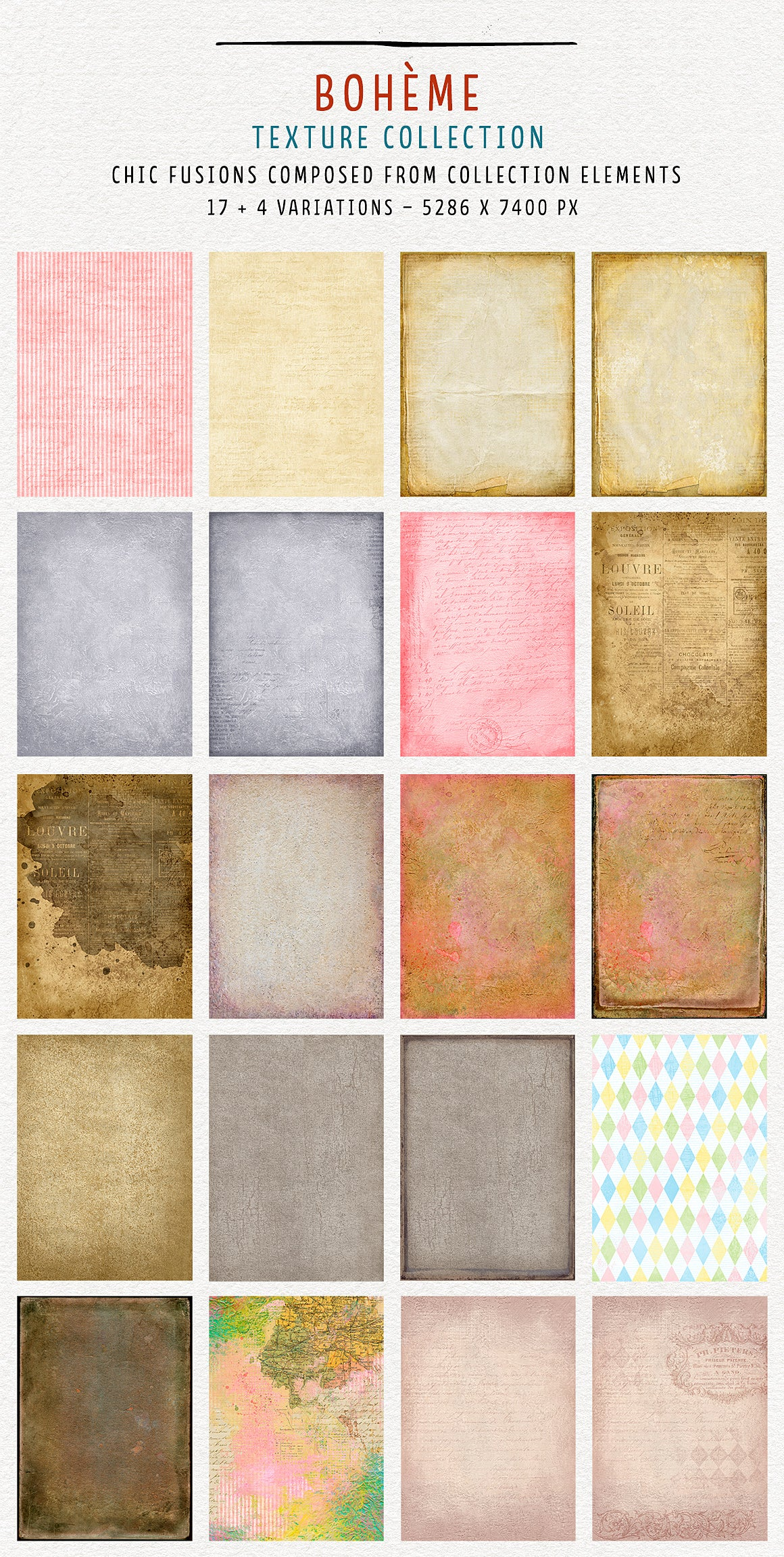 Boheme chic fusions texture collection with vintage elements. Extra-large, Extended license.