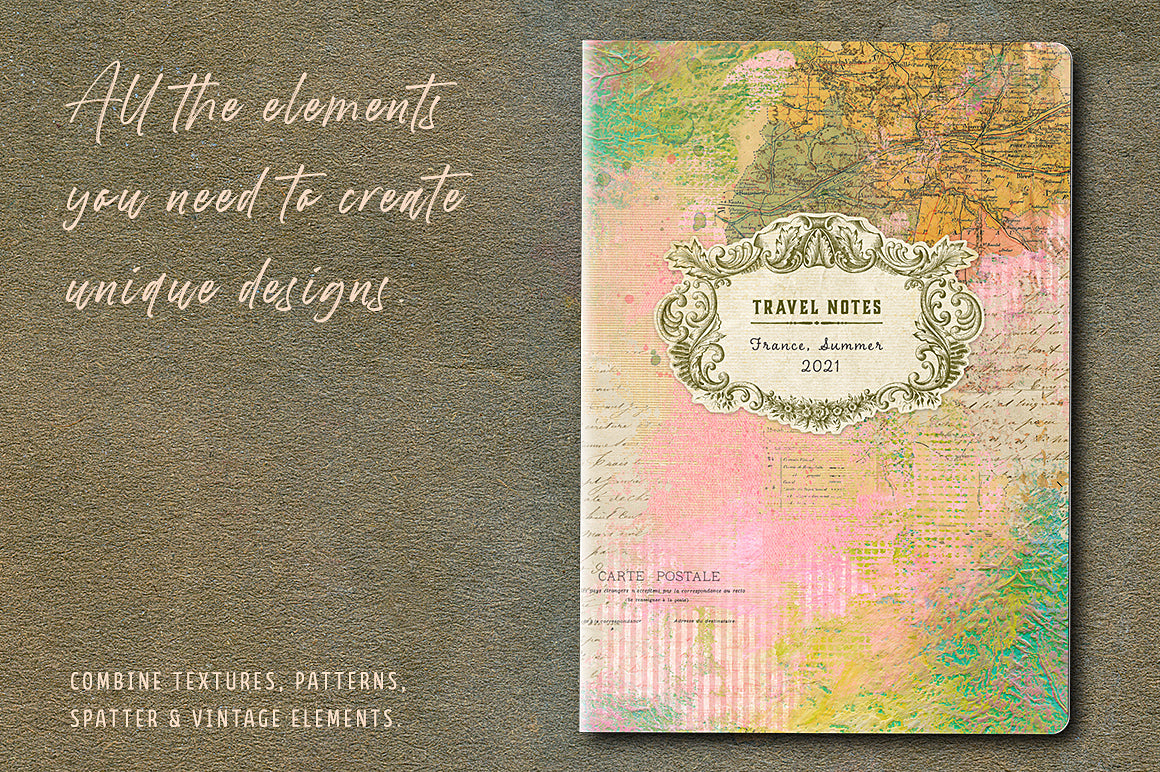 Travel notebook design created with textures and elements from the Complete Inspirational Textures and Elements Collection.