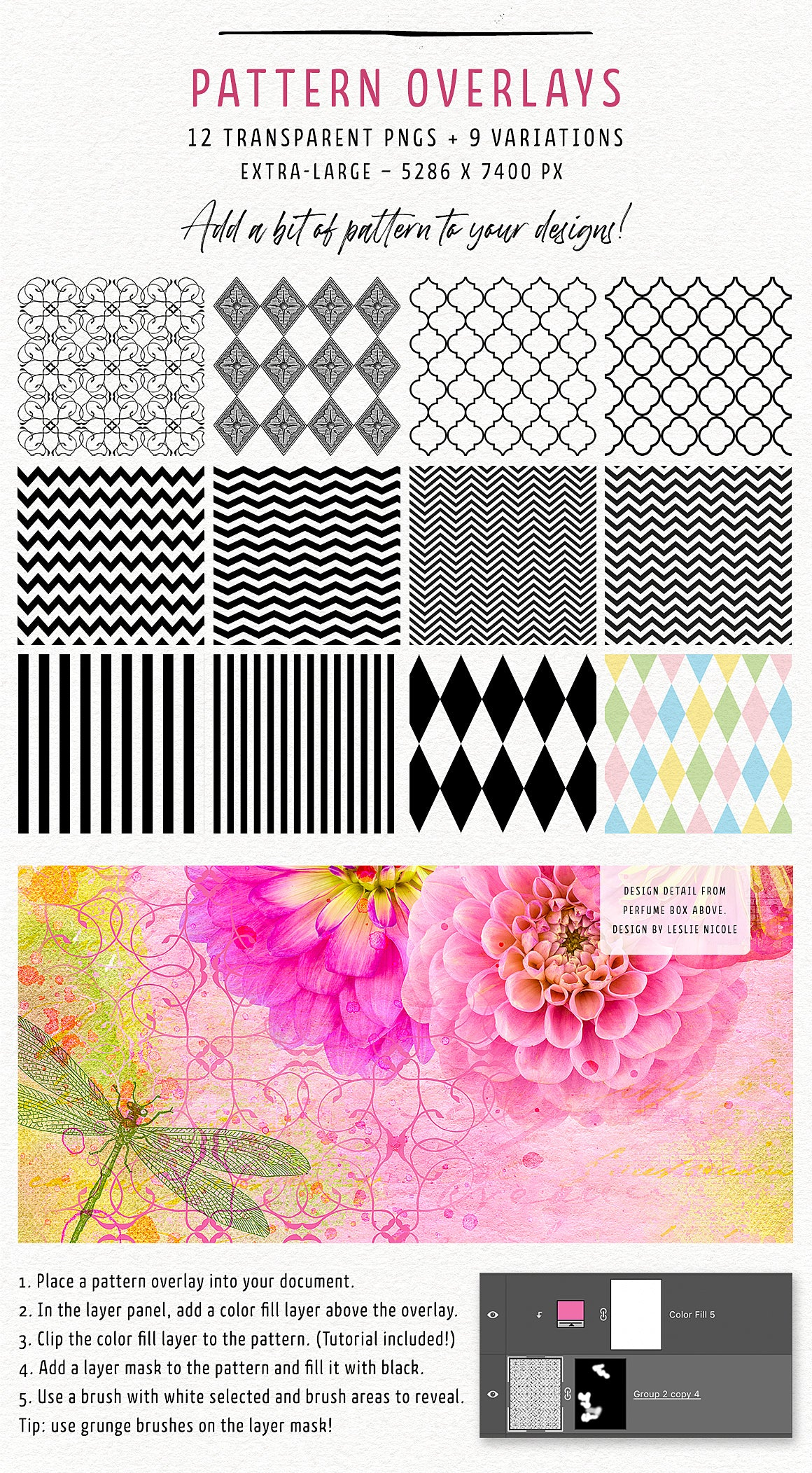 Pattern overlays in the Complete Inspirational Textures and Elements Collection.