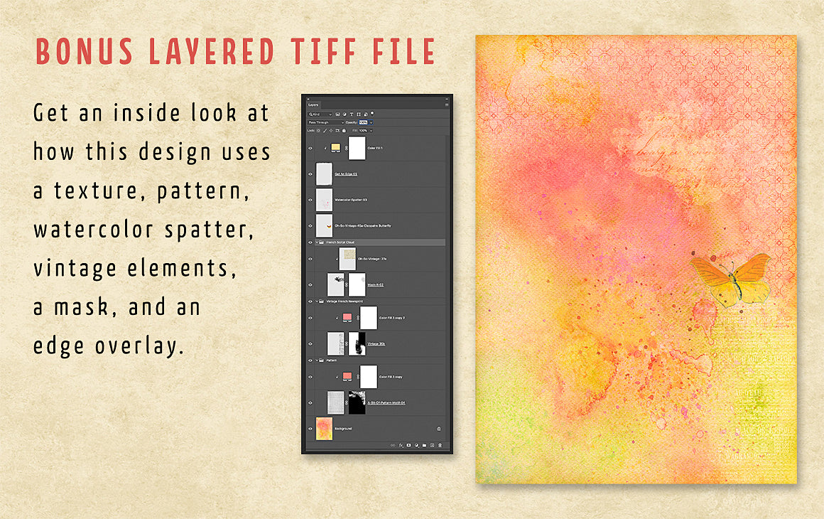 A layered tiff file showing how to use the Complete Inspirational Textures and Elements Collection.