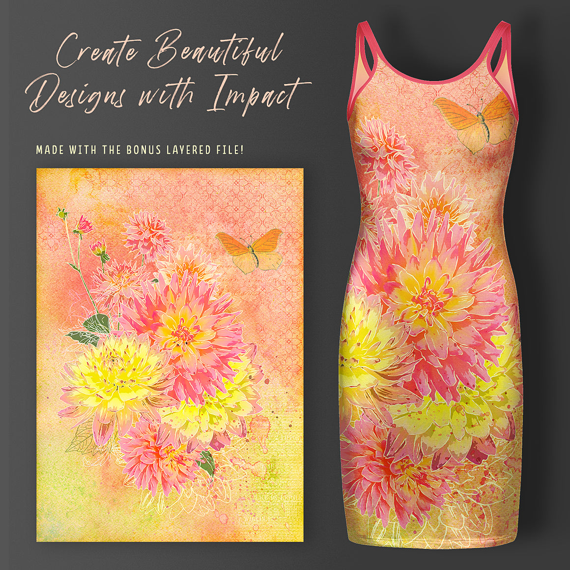 Photographic design on a dress mockup using the example layered file in the Complete Inspirational Textures and Elements Collection.