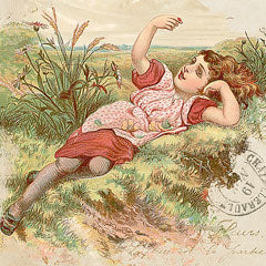 Vintage illustration digital download of a girl in a meadow.
