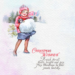 Girl with puppy vintage Christmas illustration digital download.
