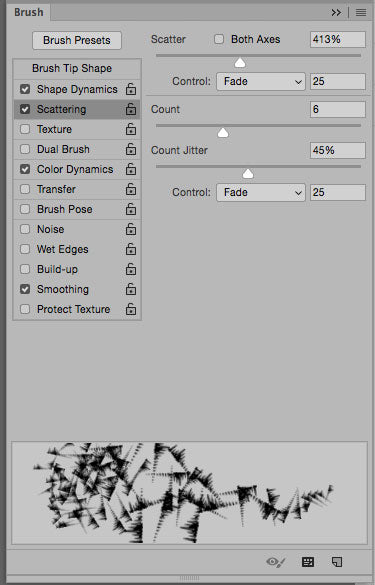 Photoshop brush preset with scattering.