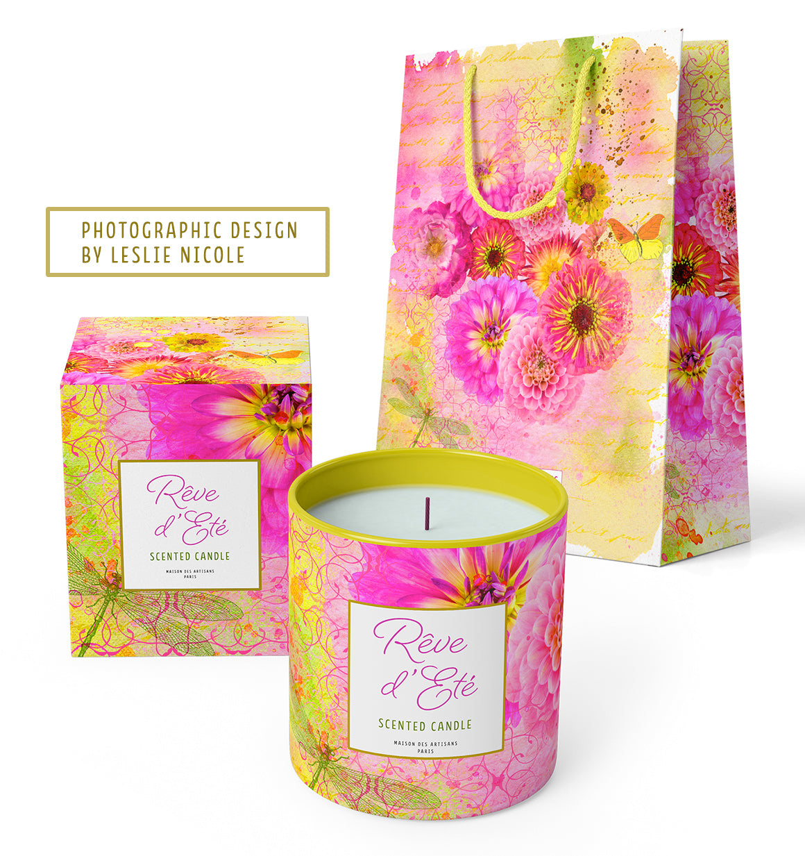 Scented candle and shopping bag design using photographic floral art by Leslie Nicole.