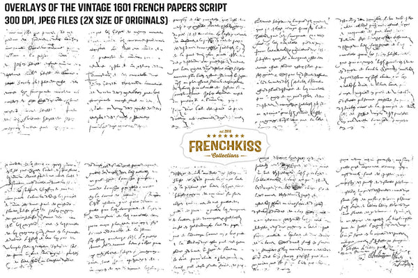Digital French grunge script overlays from an original rare 1601 vintage document.
