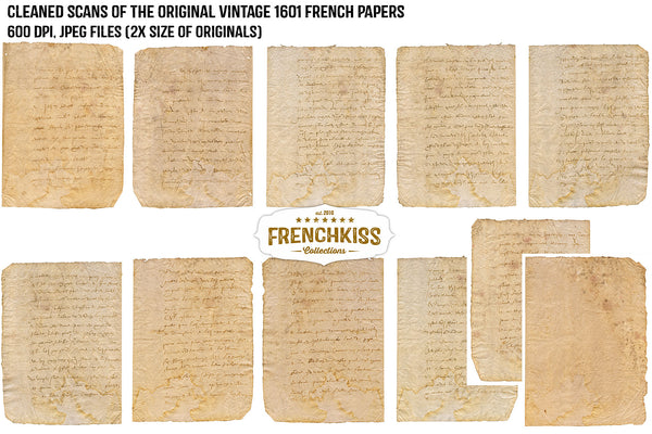 Digital ephemera papers from an original rare 1601 vintage French document.