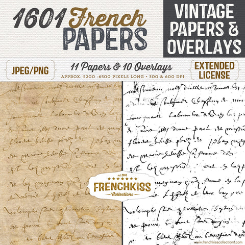 Digital papers and overlays from an original rare 1601 vintage French document.