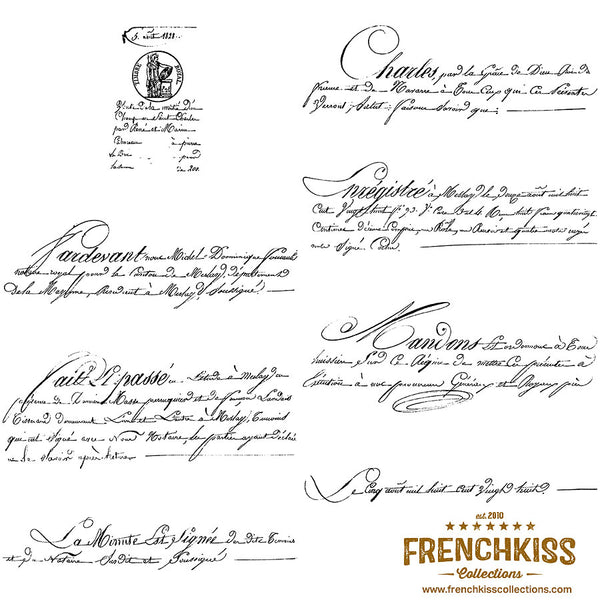 8 1828 vintage French script Photoshop brushes and overlays.