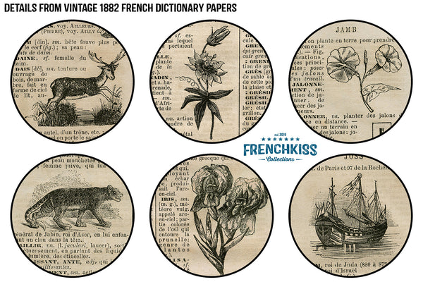 Details of vintage papers from an 1882 French dictionary with illustrations.