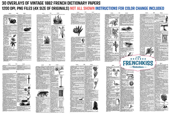 Overlays from a vintage 1882 French dictionary with illustrations.