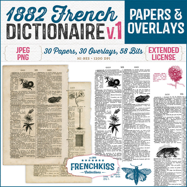 Vintage Papers and Overlays from an 1882 French dictionary with illustrations.