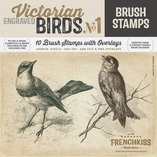Victorian Engraved Bird Brush Stamps No.1