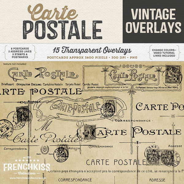 Digital vintage French postcard back overlays