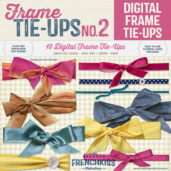 Frame tie-ups digital bows and ribbons to decorate digital frames.