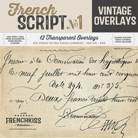 Vintage French Script Overlays 1