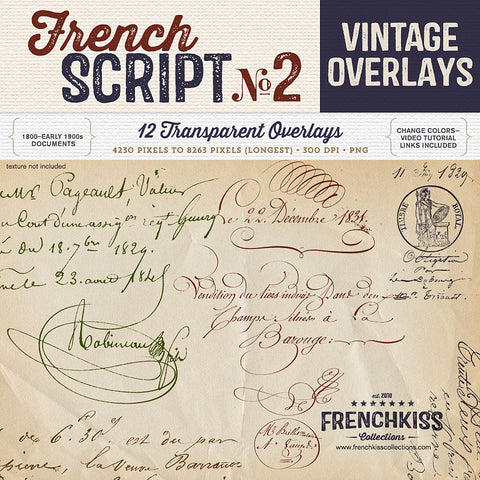 Vintage French Script Overlays 2