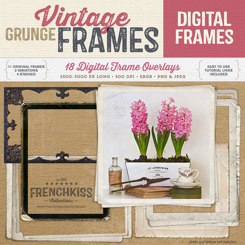 Vintage Grunge Digital Frames. Wonderfully grungy frames for your photo album or designs.