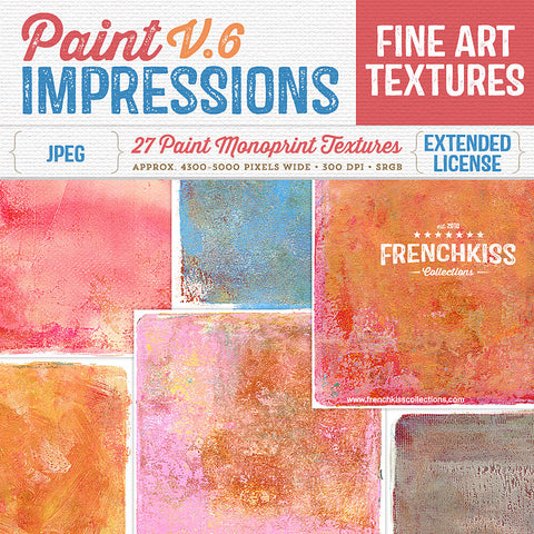 Fine art textures created from original paint monotypes. High resolution painterly textures with artistic edges. Commercial license.