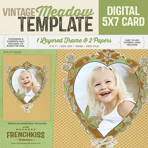 Vintage Meadow Frame Template