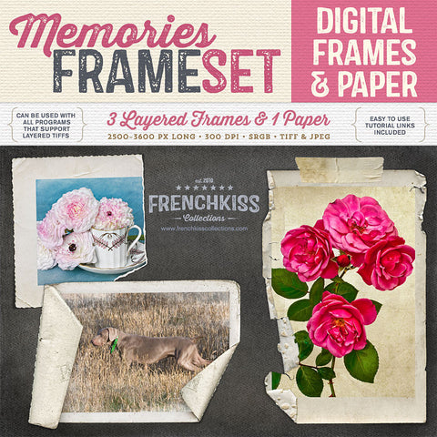 Memories digital frame set with layered grunge frames, tape and digital paper.