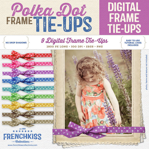 Polka dot bow and ribbon Frame Tie-Ups for digital frames.