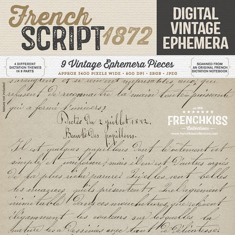 1872 French Script Ephemera