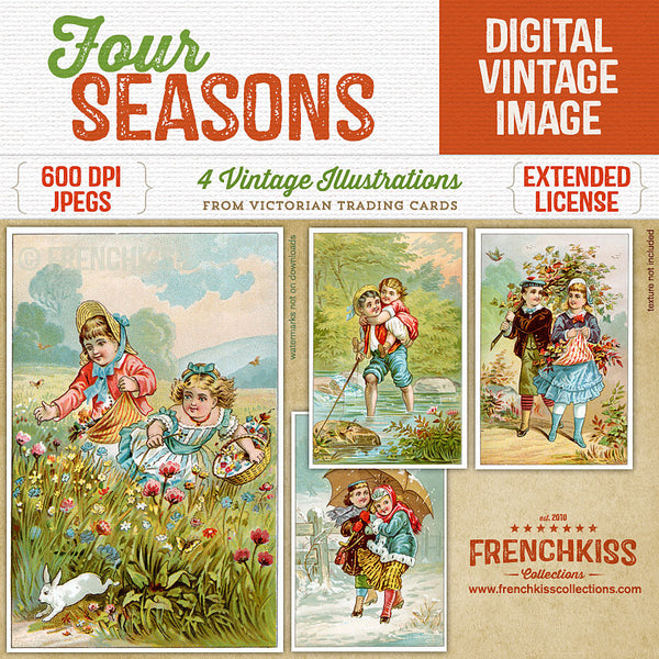 Four Seasons Victorian Trading Card Digital Illustrations