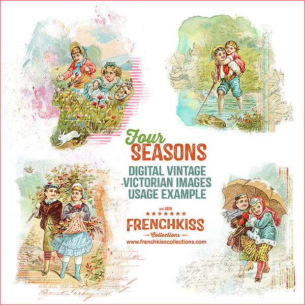 Four Seasons Victorian Trading Card Digital Illustrations examples.
