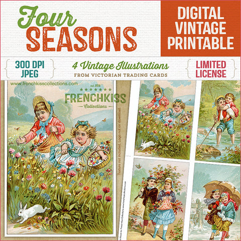 Charming vintage illustrations digital download depicting children and couples enjoying the four seasons. Taken from Victorian trading cards.