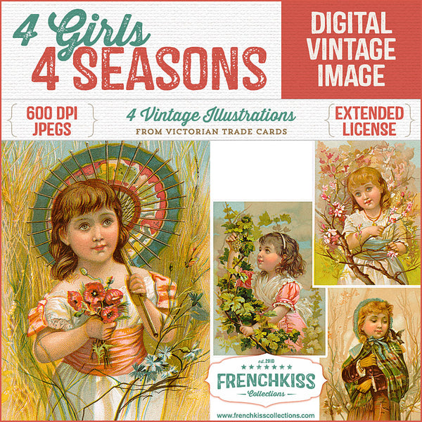 Especially lovely vintage illustrations from Victorian trade cards of girls in the garden depicting the 4 seasons.