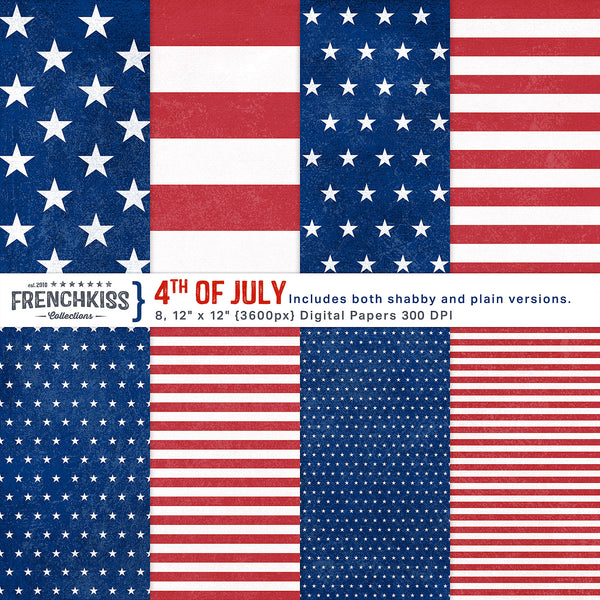 4th of July, red, white and blue stars and stripes digital papers. Personal and Extended licenses.