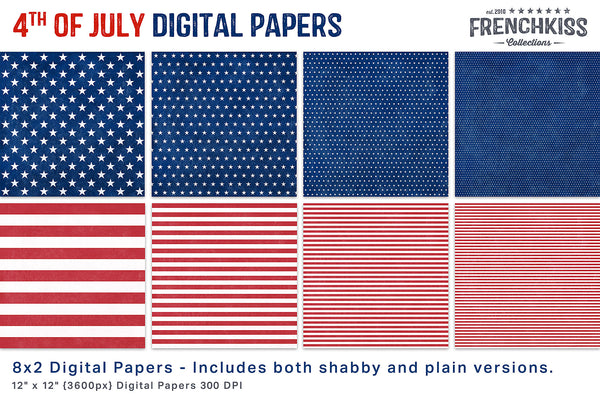 4th of July, red, white and blue stars and stripes digital papers.