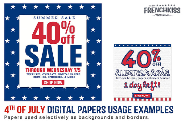 Newsletter promotional graphics using the 4th of July digital papers.