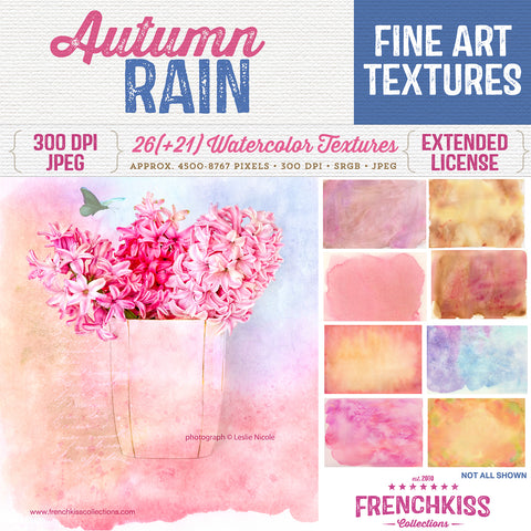 Autumn Rain fine art watercolor textures for commercial use.