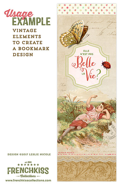 Bookmark design using vintage elements from French Kiss Collections.