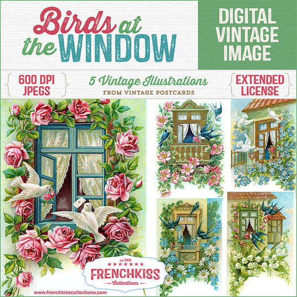 5 digital download illustrations from vintage postcards of birds at a house window delivering flowers or letters.