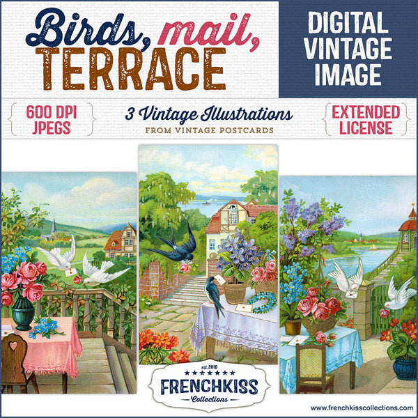 Birds delivering mail on the terrace vintage images from postcards by French Kiss Collections.