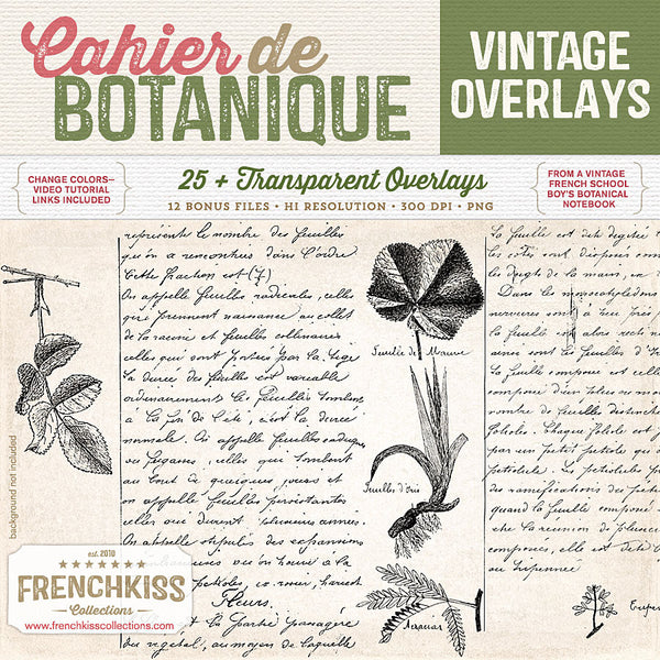 Cahier de Botanique vintage French digital overlays.