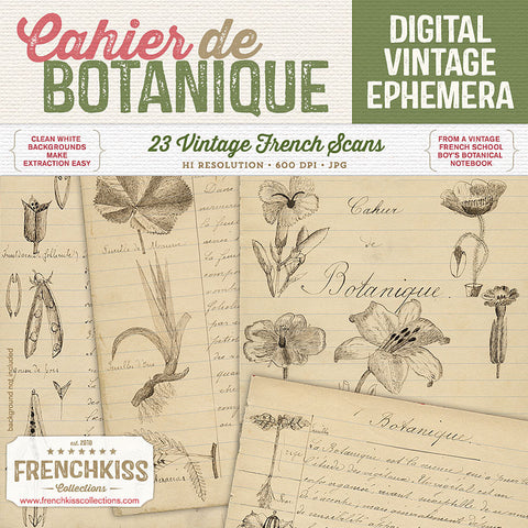 Cahier de Botanique vintage French digital ephemera.
