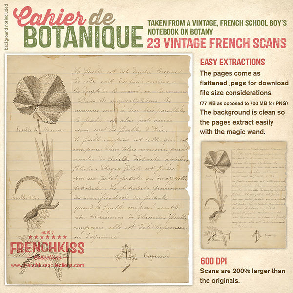 Cahier de Botanique vintage French digital ephemera info.