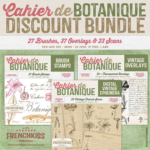 Cahier de Botanique vintage French brushes, overlays and scans.