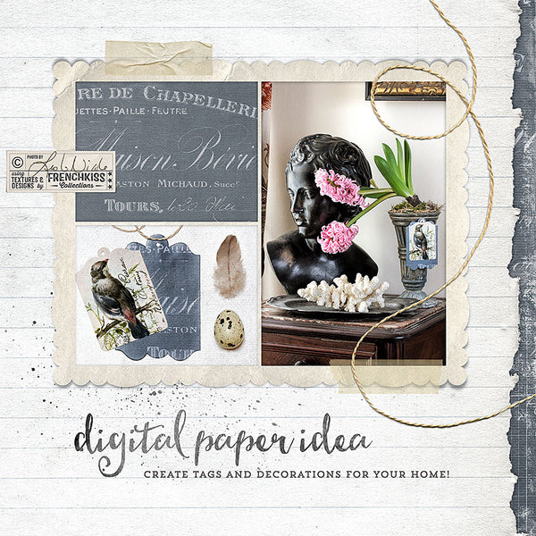 Digital paper idea—make tags for home decorations.