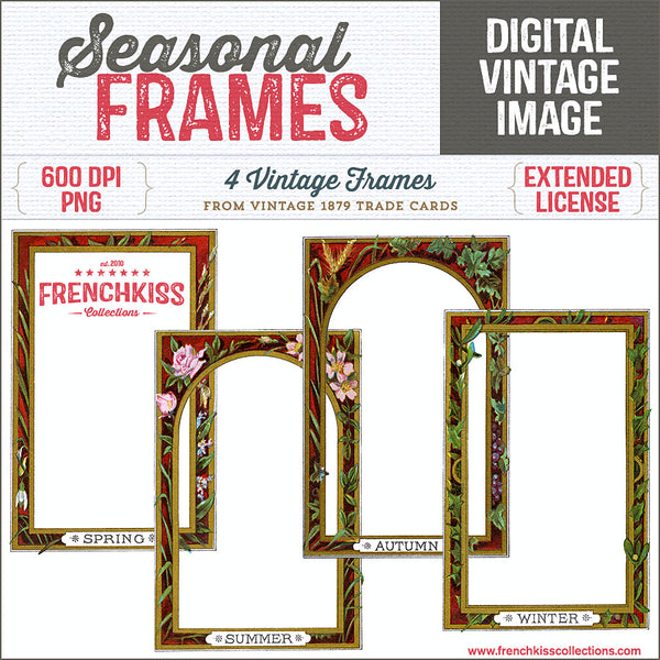 4 digital frames from 1879 Victorian Trade Cards with decorative borders.