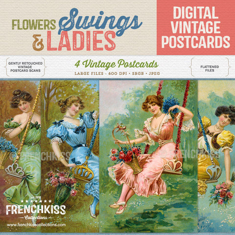 Flowers, Swings, and Ladies Digital Vintage Postcard