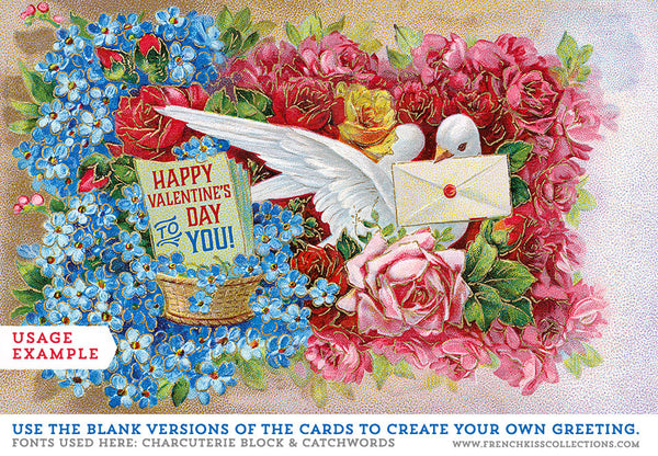 Usage example of custom greeting for vintage dove postcard.